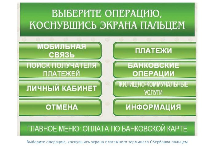 Банковские операции в терминале Сбербанка